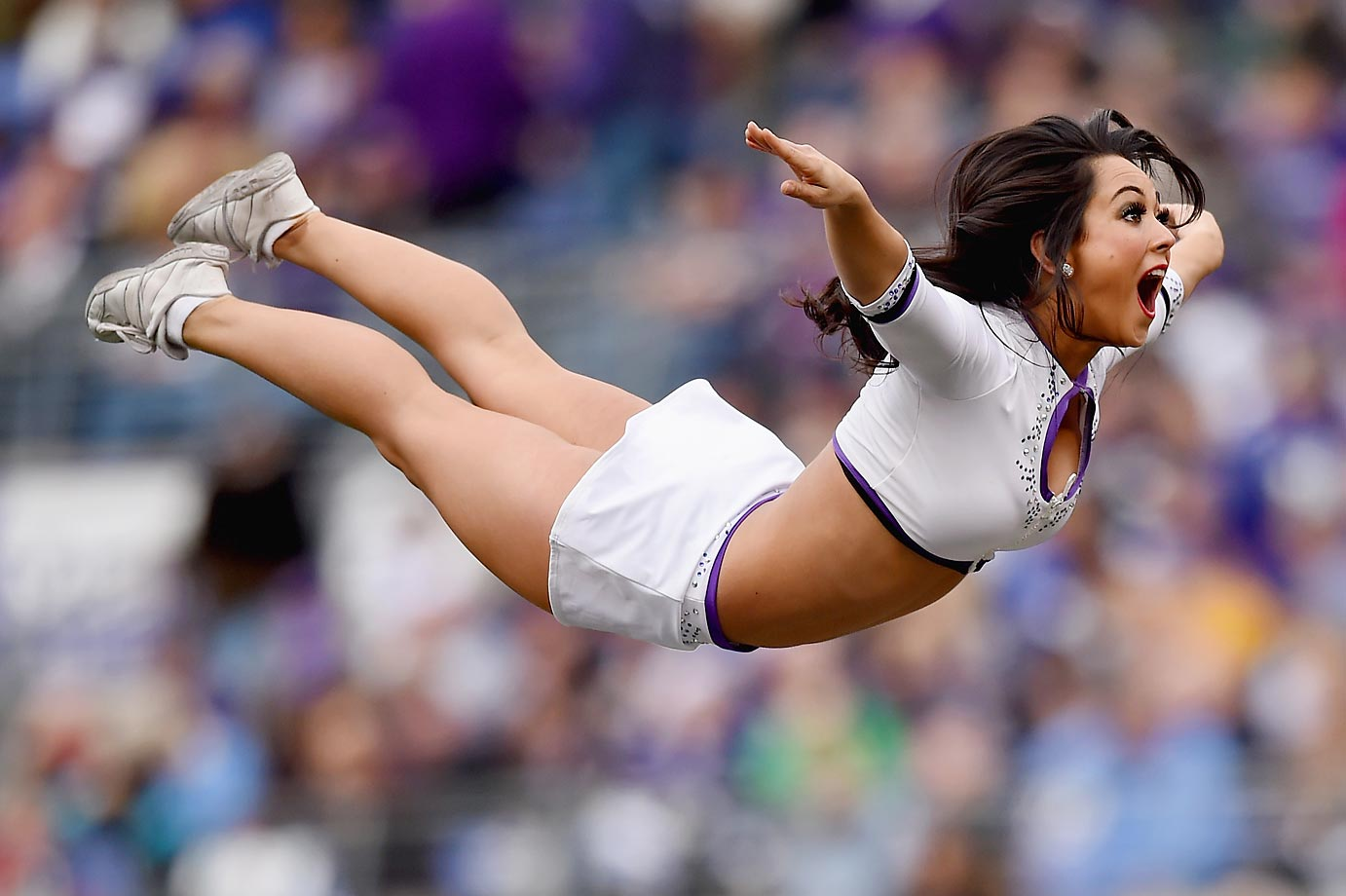 Baltimore Ravens cheerleaders perform during Sunday's game against the San Diego Chargers.