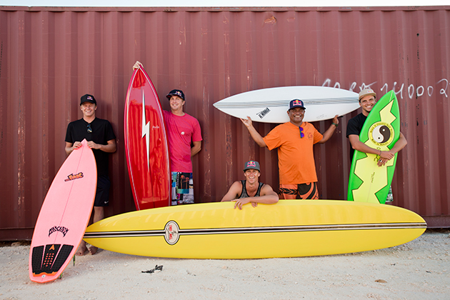 (From the left) Kolohe Andino, Jamie O'Brien, Ian Walsh, Raimana van Bastolaer and Julian Wilson.