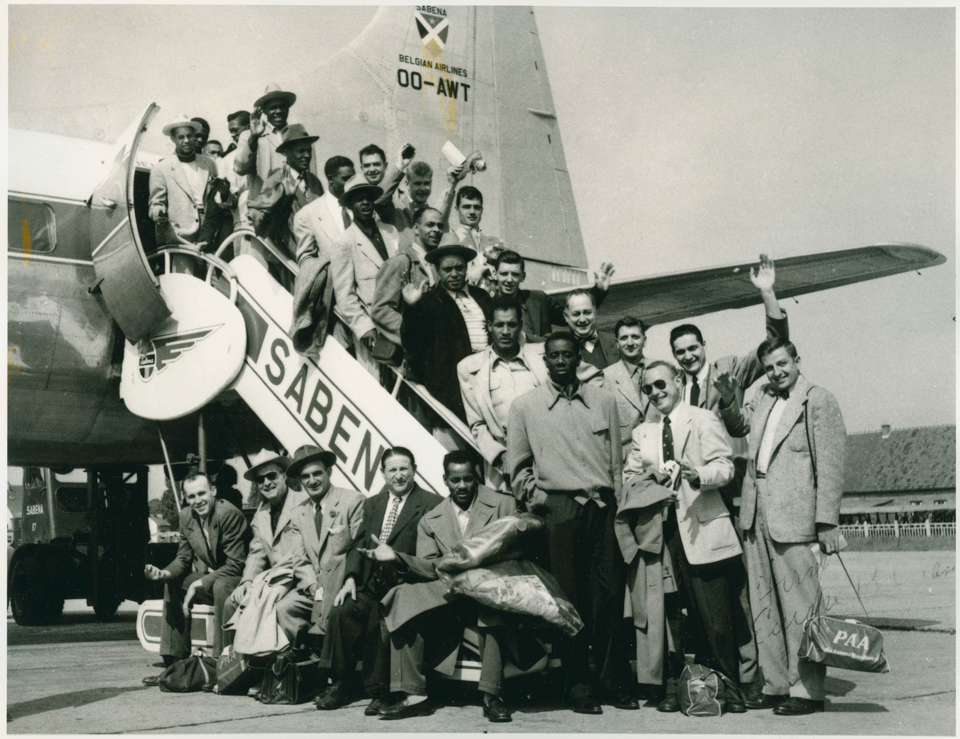 The Washington Generals during their European Tour in 1950. Red Klotz stands third from the right. Other players are Abe Saperstein, Eddie Gottlieb, Pop Gates and Goose Tatum.