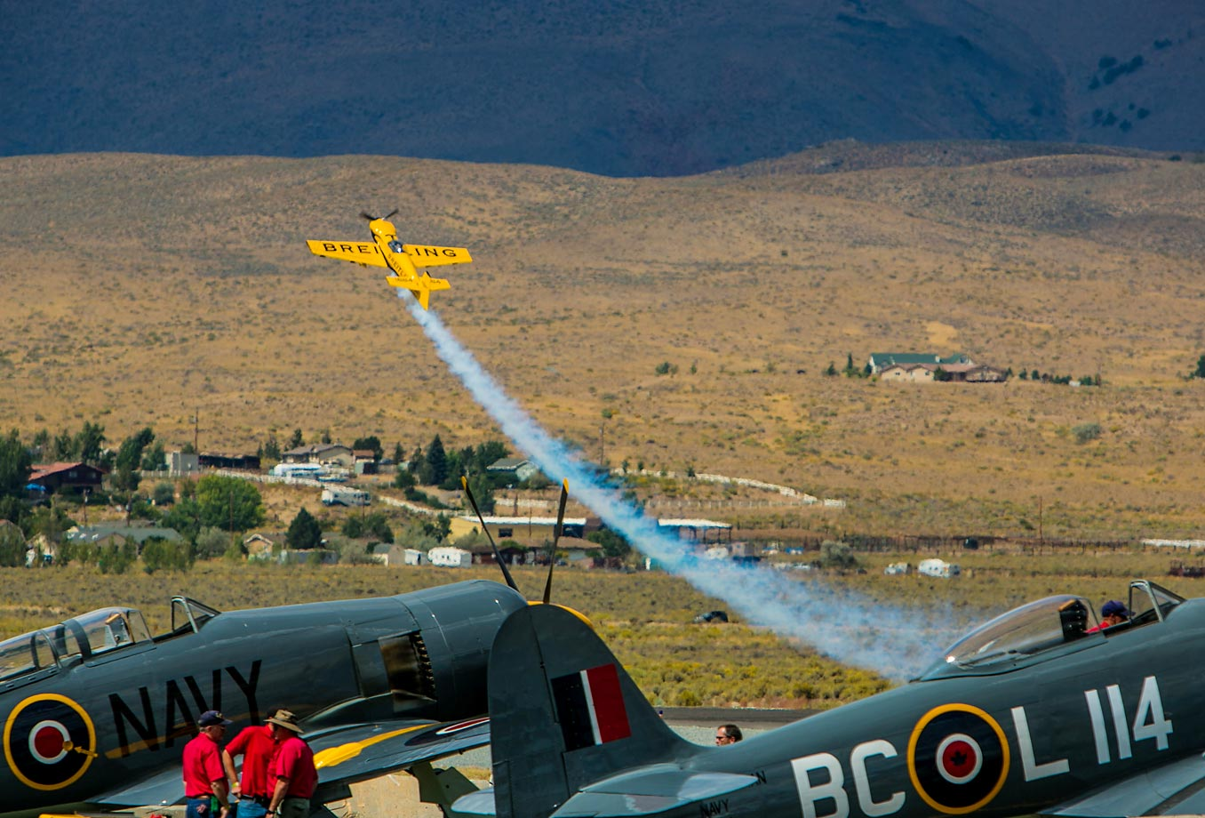 The Breitling stunt plane performs at the Reno National Championship Air Races in 2013. The 2014 event features nearly 120 pilots and planes.
