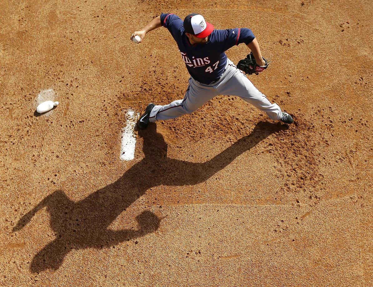 Minnesota Twins pitcher Ricky Nolasco winds up for a throw in the bullpen during spring training  practice in Fort Myers, Fla.