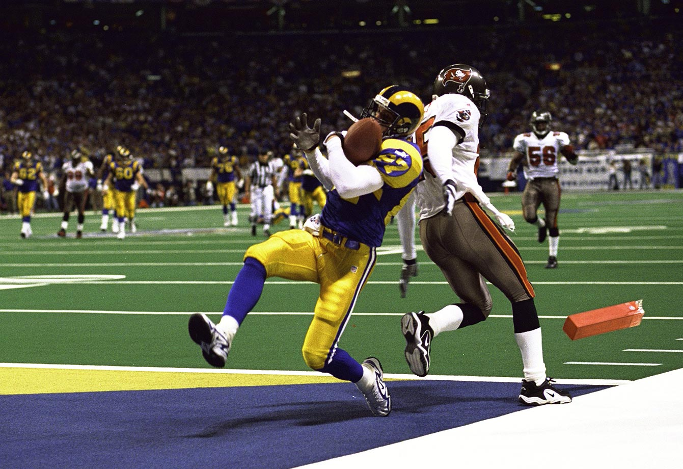 1999: Ricky Proehl's leaping end-zone catch on a 30-yard TD pass from Kurt Warner. It provided the winning points in the Rams' NFC title game playoff win over Tampa Bay.