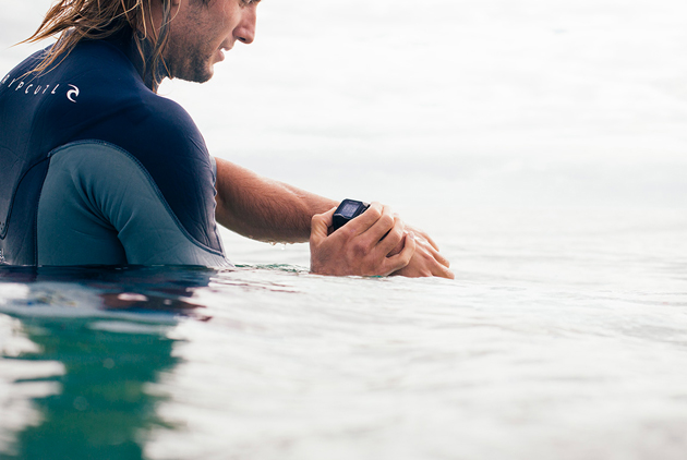 Surfer Owen Wright sporting the new Rip Curl Search GPS watch