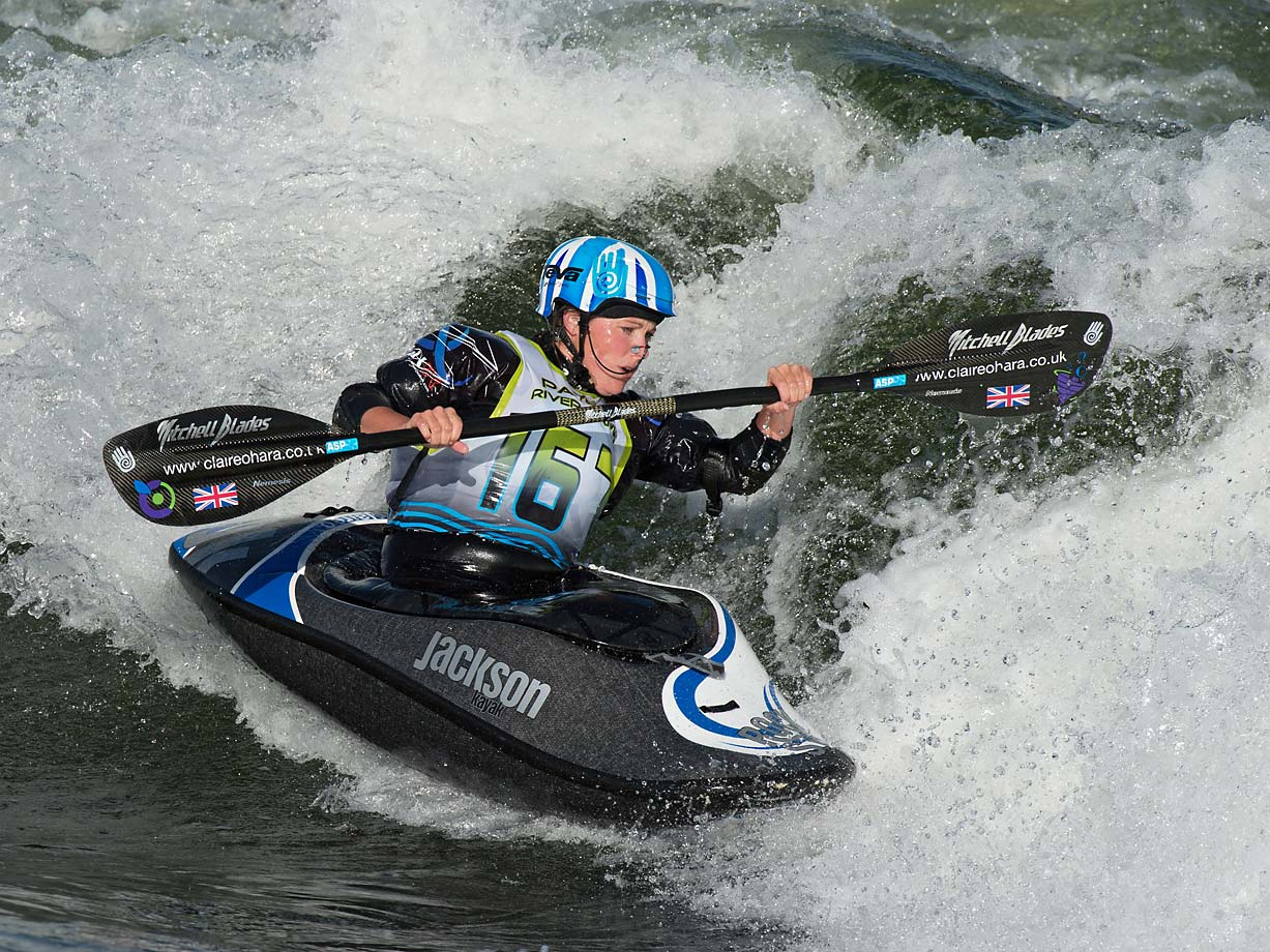 Current world champion Claire O'Hara, from England looking down the wave.  Eighteen countries and 30 states were represented in this year's games.