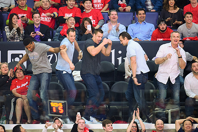 Rob Gronkowski (center) dances during 'Dance Cam' at a game between the Timberwolves and Clippers.