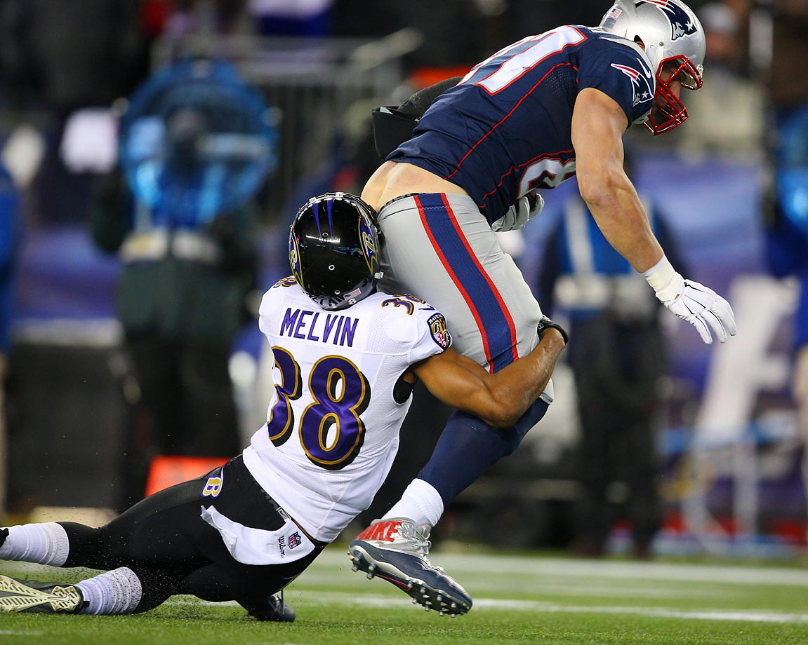 Rob Gronkowski, here going against Rashaan Melvil of the Ravens, could have a future as a plumber if he'd like.