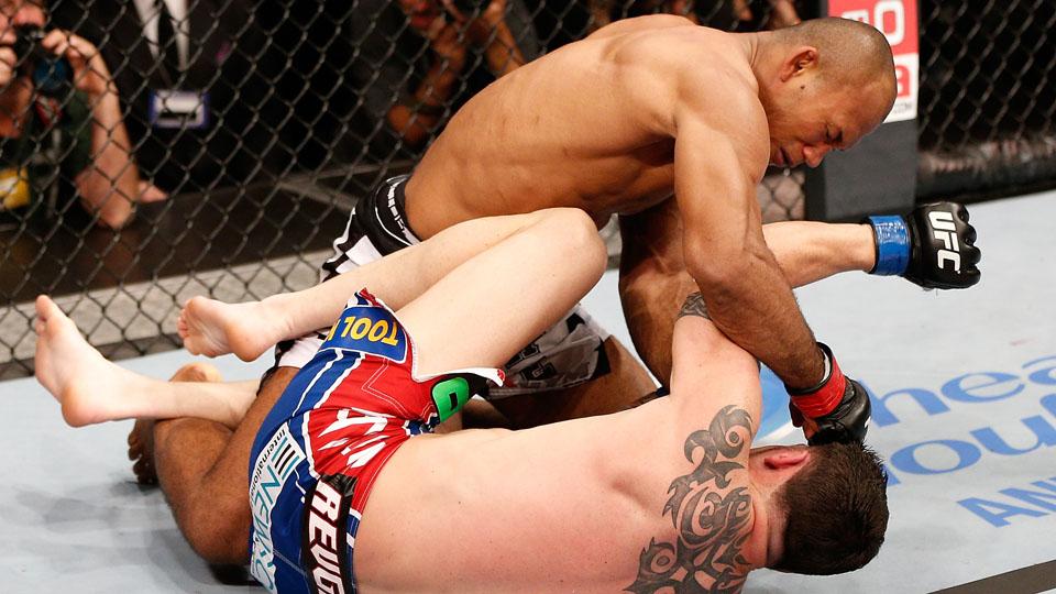 Ronaldo Souza lands a punch during a UFC bout. Josh Hedges/Zuffa LLC via Getty Images