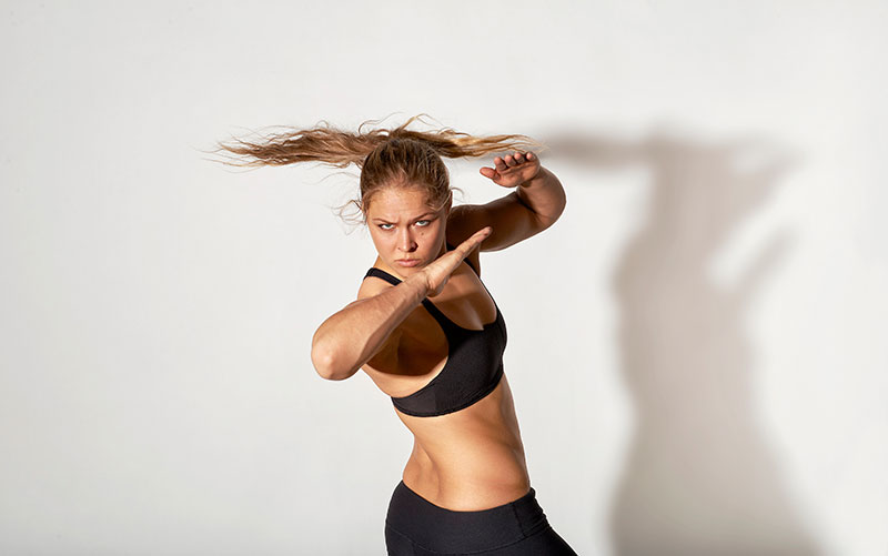 Ronda Rousey during a photo shoot for SI at the Glendale Fighting Club in California.