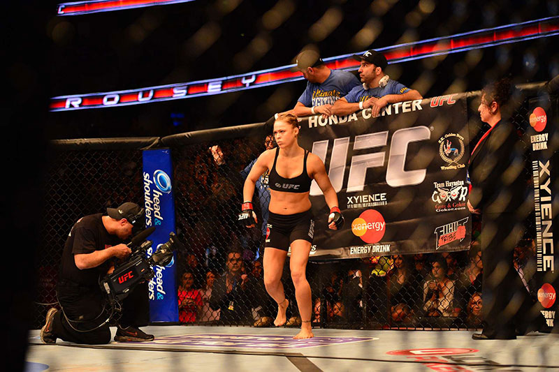 Ronda Rousey fights Liz Carmouche during the inagural Women's UFC fight at Honda Center in Anaheim, CA.