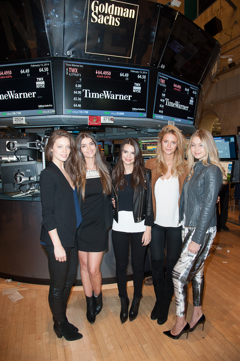With Emily DiDonato, Natasha Barnard, Emily Ratajkowski and Kate Bock at the New York Stock Exchange