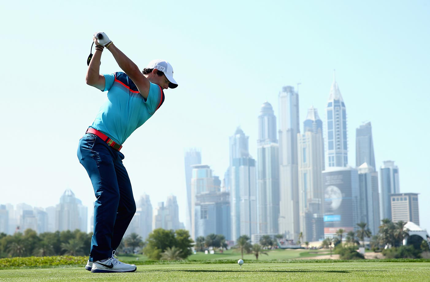 Rory McIlroy teeing off on the eighth hole during the final round of the Omega Dubai Desert Classic on the Majlis Course at the Emirates Golf Club.