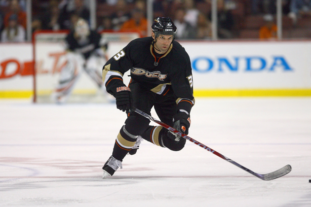 Bret Hedican, co-founder of RosterBot, and former player for the Anaheim Ducks skates during a match against the Dallas Stars at the Honda Center on November 2008.