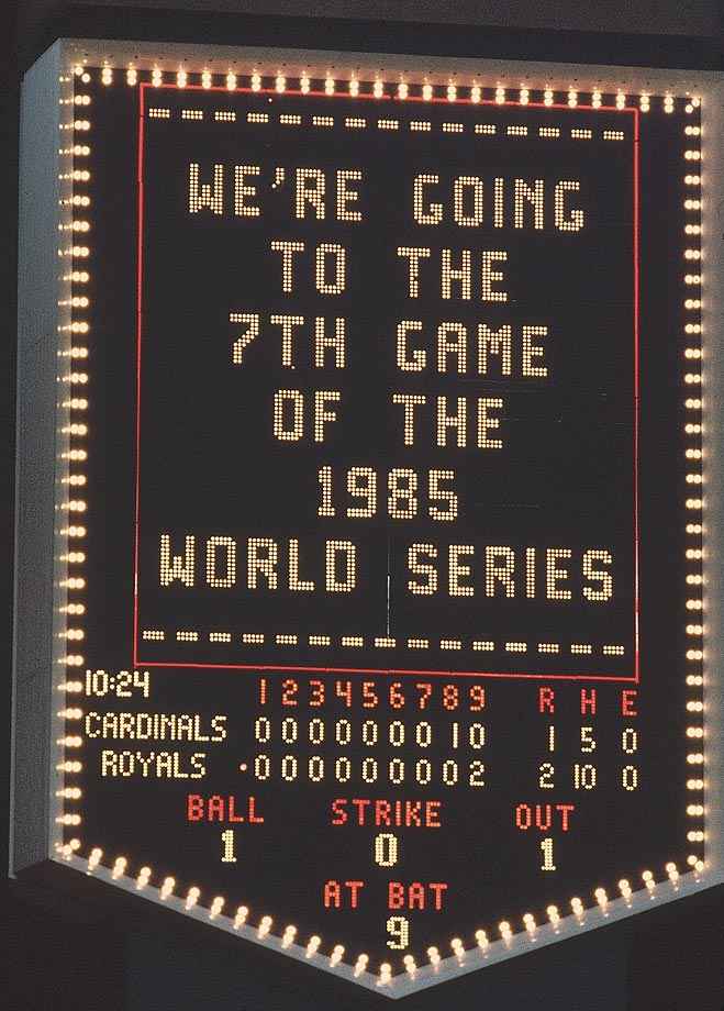 The scoreboard at Royals Stadium announces Game 7 after the Royals beat the Cardinals 2-1 to tie the series.
