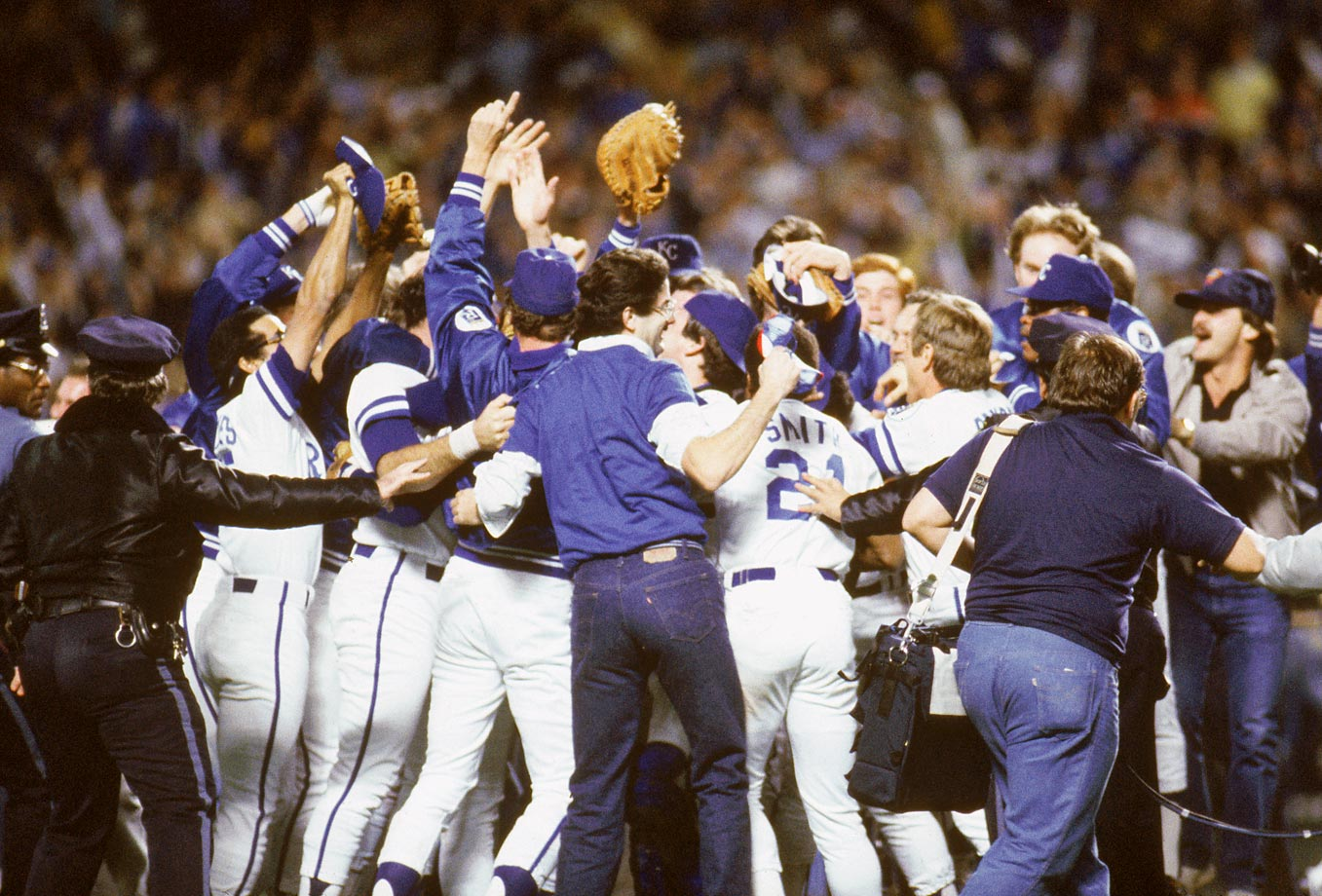 The Royals celebrate winning the World Series after overcoming a 3-1 series deficit.
