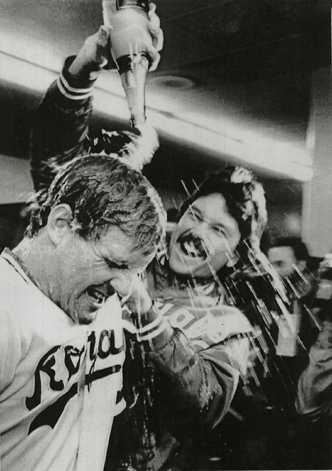 Royals pitcher Joe Beckwith douses Geroge Brett with champagne after winning the World Series.