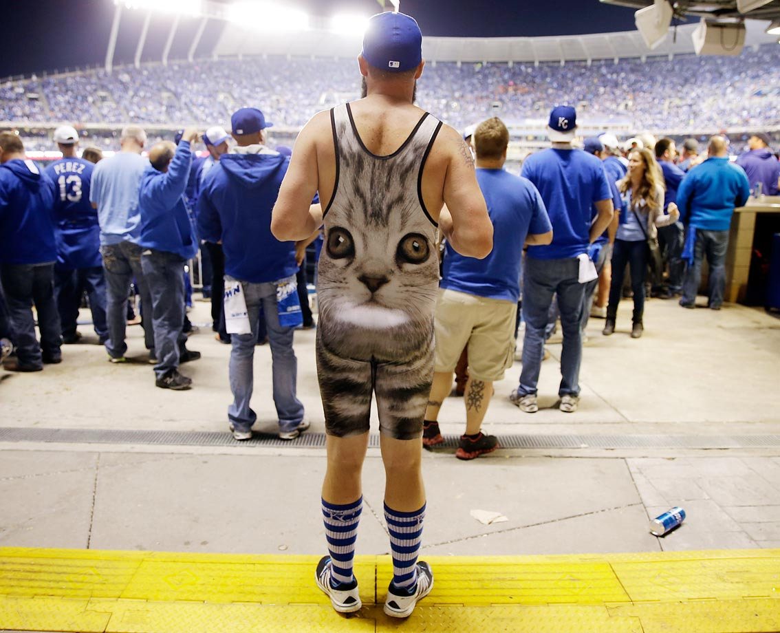 A Royals fan watches Game 2 of the World Series at Kauffman Stadium.