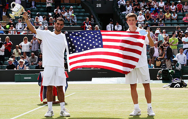 Noah Rubin (left) and Stefan Kozlov played the first all-American boys' Wimbledon final since 1977.