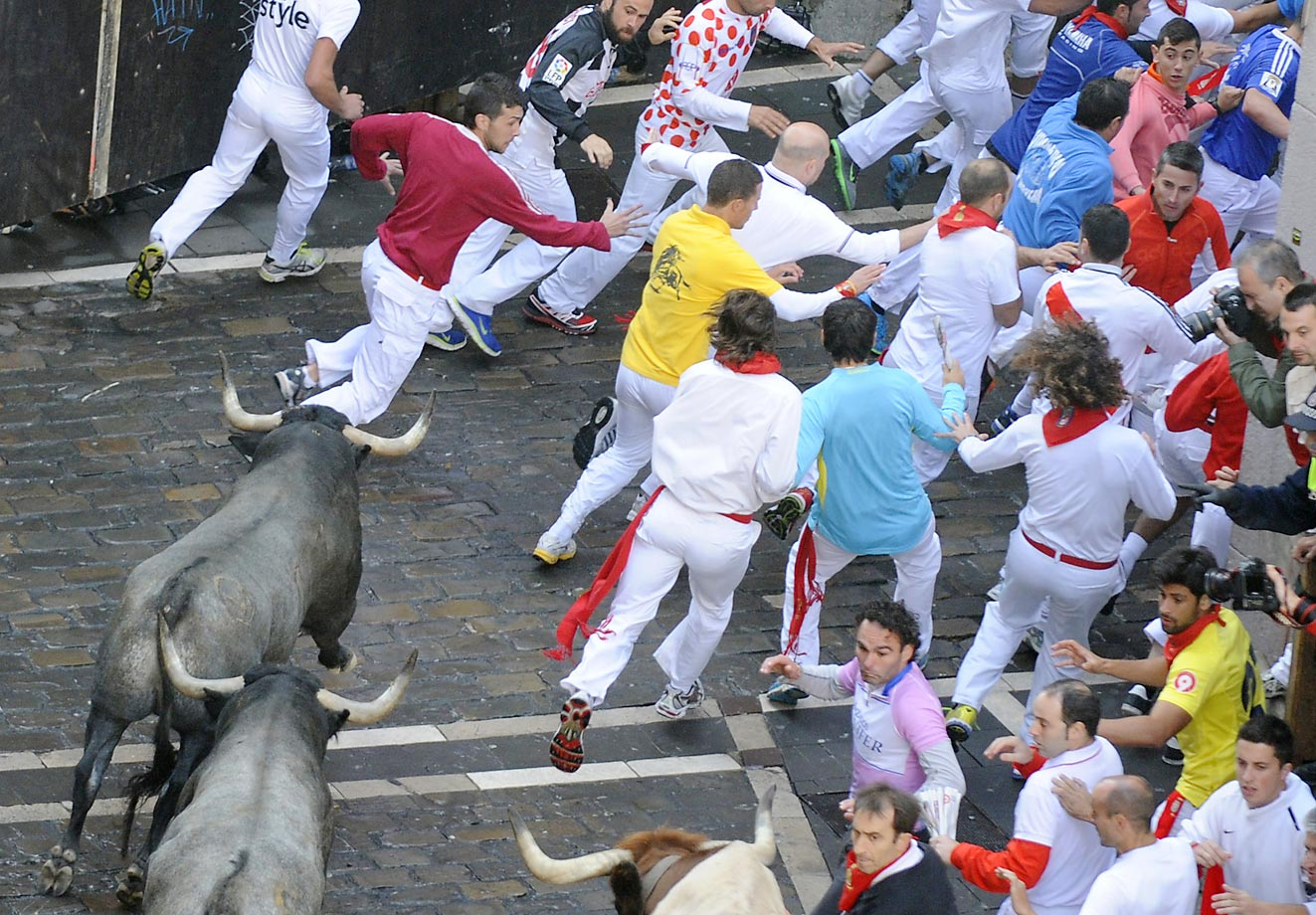Participants run in front of Adolfo Martin's bulls during the seventh day of the Running Of The Bulls at the San Fermin Festival in Pamplona, Spain, on July 13, 2014. The festival is a symbol of Spanish culture that attracts thousands of tourists to watch the bull runs, despite heavy condemnation from animal rights groups.