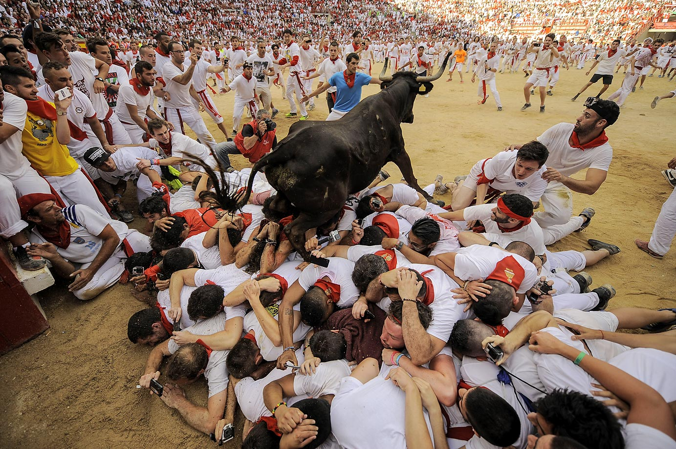 Revelers at the annual running of the bulls.