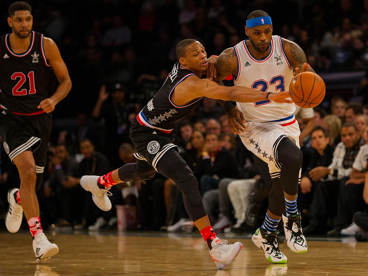 Russell Westbrook tries to steal the ball from LeBron James during the 2015 NBA All-Star Game at Madison Square Garden.