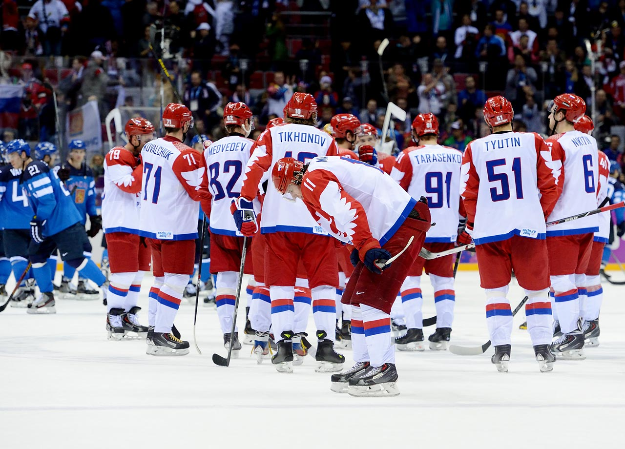 With a loaded roster full of top players from the NHL and Russia's KHL – including Alexander Ovechkin, Evgeni Malkin, Pavel Datsyuk and Ilya Kovalchuk – Russia was expected to contend for a gold medal on home ice. Anything less would be considered a failure, and Russia's star-studded hockey team fell far short of its goal. The Russians fell in the second round of the knockout stage at the hands of Finland, which defeated its eastern neighbors 3-1. Even though Russia finished first in the Sochi medal count, its crushing failure in hockey may resonate just as long as its successes in other competitions.