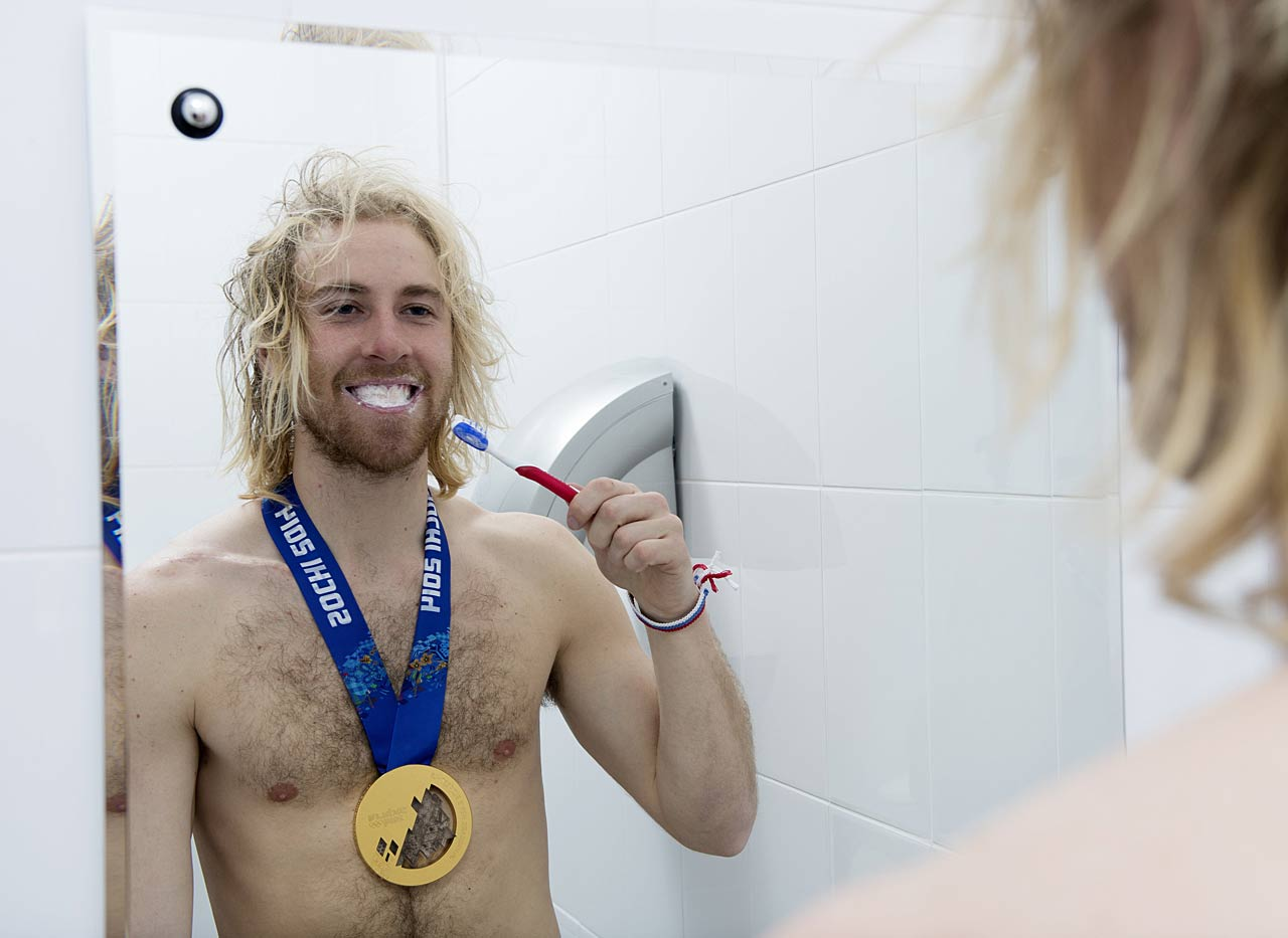 Sage Kotsenburg, the gold medal winner in the slopestyle, tries a new morning routine.