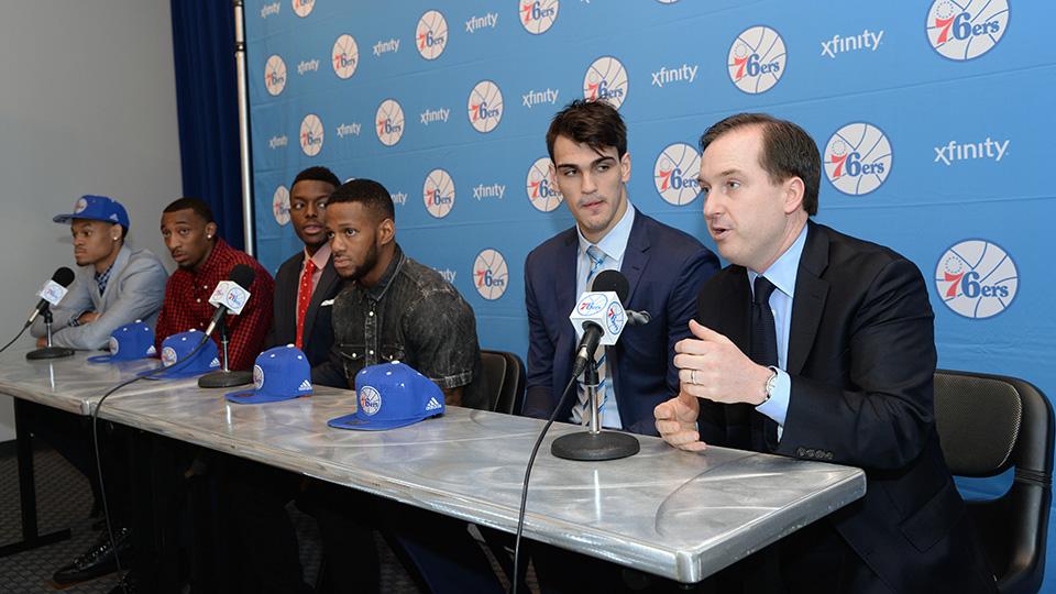 Philadelphia 76ers GM Sam Hinkie (far right) introduces K.J. McDaniels, Jordan McRae, Jerami Grant, Pierre Jackson and Dario Saric following the 2014 NBA draft.