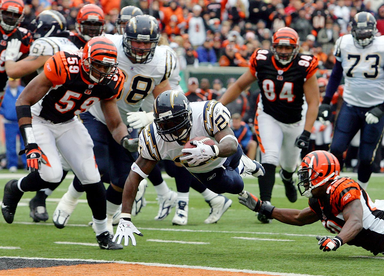 "One of the biggest comeback victories in Chargers' history was a noteworthy game for LaDainian Tomlinson. The running back was one of the top players in the NFL and would win that season's MVP award. Against the Bengals, he rushed for four touchdowns as San Diego recovered from a poor start, down 21-0 after the first quarter. ""Being involved in that game, it was like it was a cartoon or something,"" Tomlinson said afterwards. The 1983 Chargers also won a game after falling behind by 21 to the Seahawks."