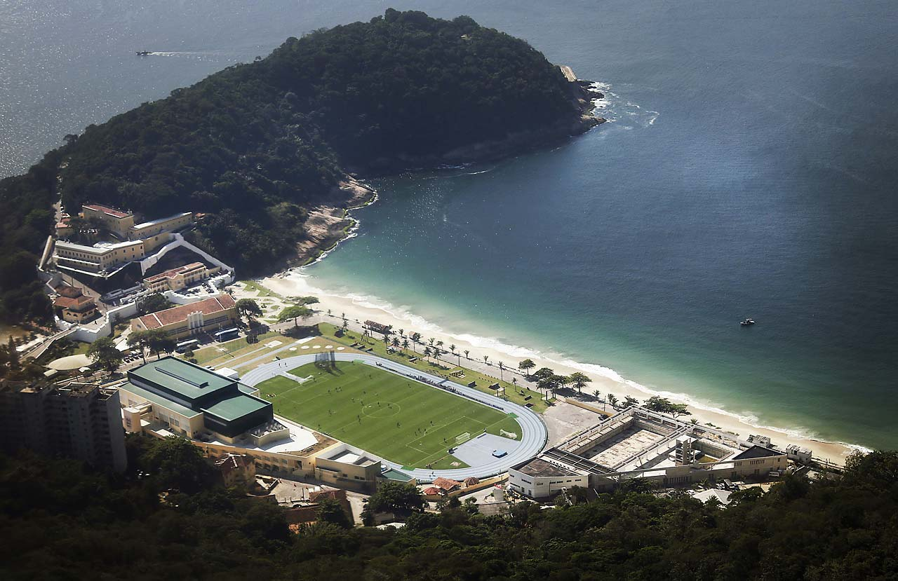 An aerial view of England's national soccer team training session in progress at the Urca military base near Copacabana beach on Monday, June 9.