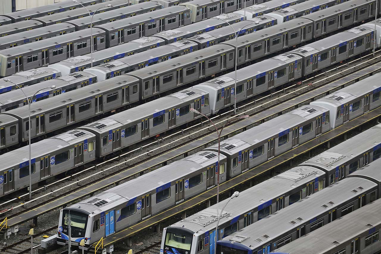 In this June 6, 2014, file photo, metro trains sit parked on the second day of a strike by the operators in Sao Paulo, Brazil. A possible subway strike in Sao Paulo during the tournament would cripple transportation in South America's biggest city. Authorities are counting on most fans getting to Thursday's match via the subway. Meanwhile, anti-World Cup protests were called for in at least six major cities, including Sao Paulo.
