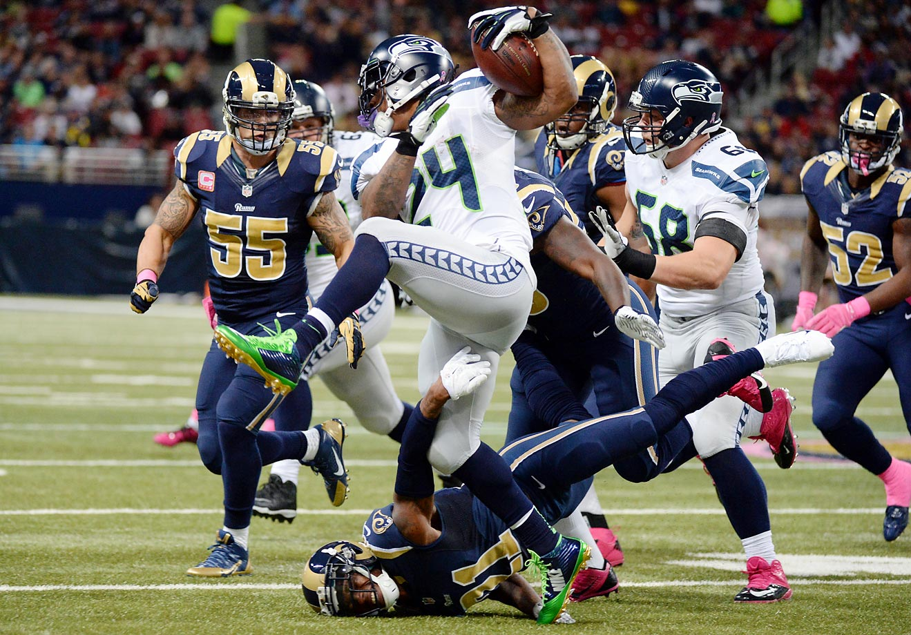 Marshawn Lynch rushed for 53 yards in the Seahawks' 28-26 loss to the Rams.