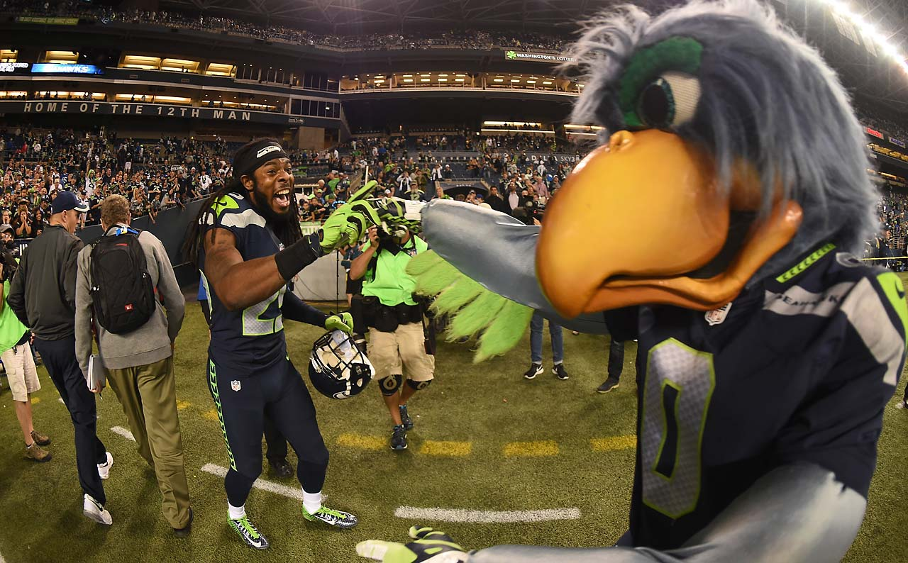 Richard Sherman joked around with the Seahawks mascot Blitz after the victory.