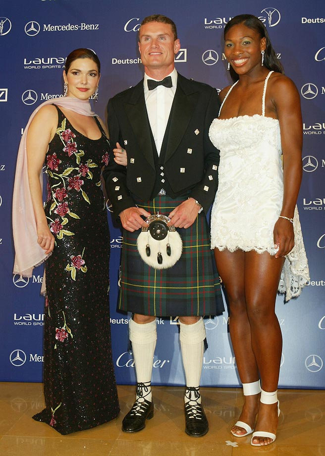 Pictured with Laura Harring and David Coulthard, Serena helped present the 2003 Comeback of the Year Award to soccer phenom Ronaldo. Serena would receive the Laureus World Sportswoman of the Year award several years later.