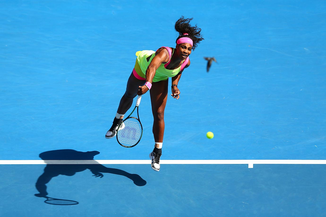 Is that a bird flying by Serena Williams at the Australian Open?