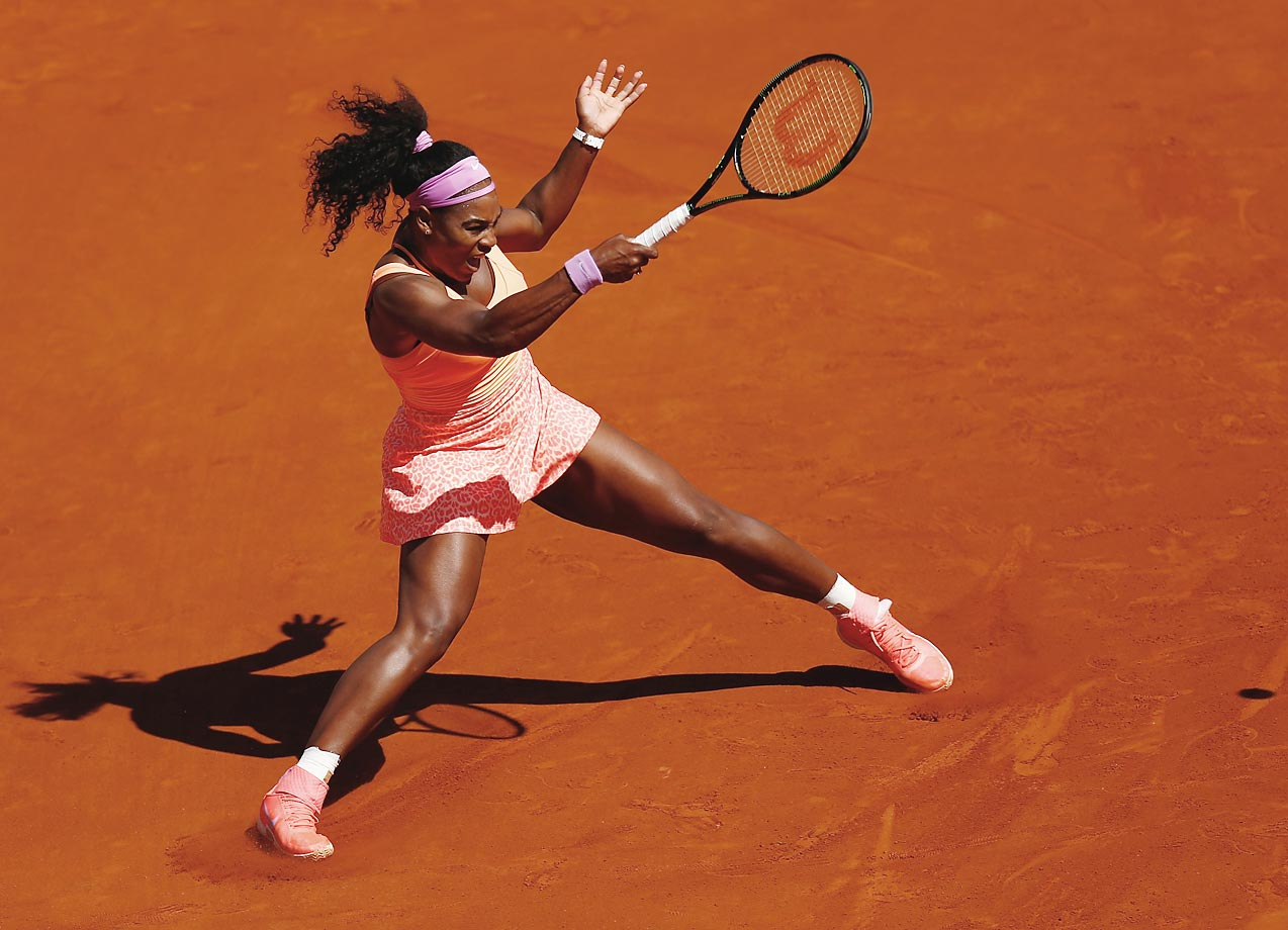 Serena Williams in action against Lucie Safarova in the Finals of the 2015 French Open.