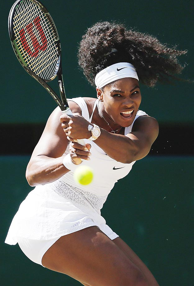 Serena Williams plays Maria Sharapova in a semifinal match at the 2015 Wimbledon Championships.