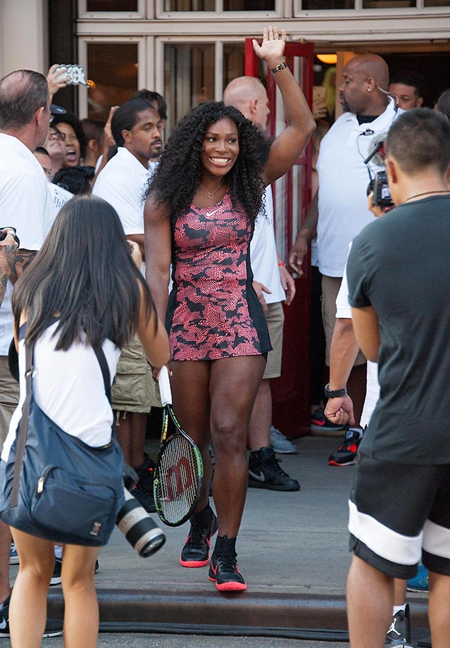 "Serena Williams attends Nike's ""NYC Street Tennis"" event in August 2015."
