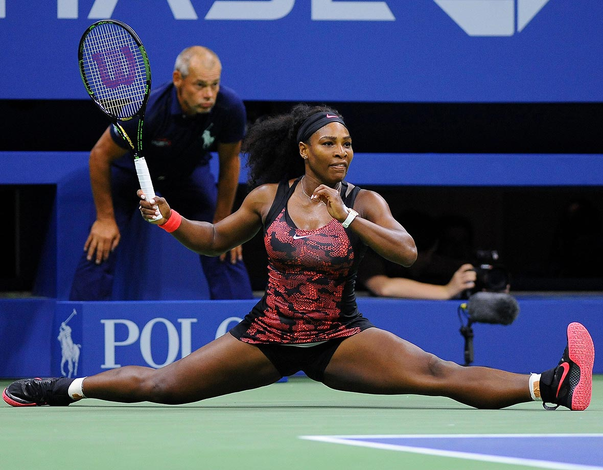 Serena Williams did an inpromtu split during her match against Bethanie Mattek-Sands at the 2015 U.S. Open.
