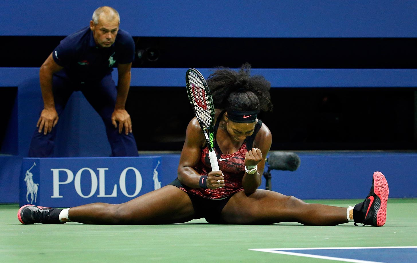 Serena Williams reacts after a point against Bethanie Mattek-Sands during the third round of the U.S. Open.