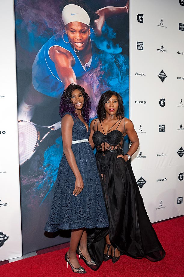 Honoree Serena Williams and sister Venus Williams attend the 2015 Sports Illustrated Sportsperson of the Year Ceremony at Pier Sixty at Chelsea Piers in New York.