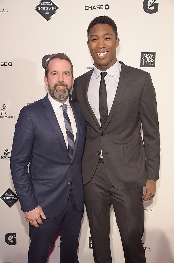 Managing Editor of Sports Illustrated Kids Mark Bechtel and SI Kids 2015 SportsKid of the Year Reece Whitley.