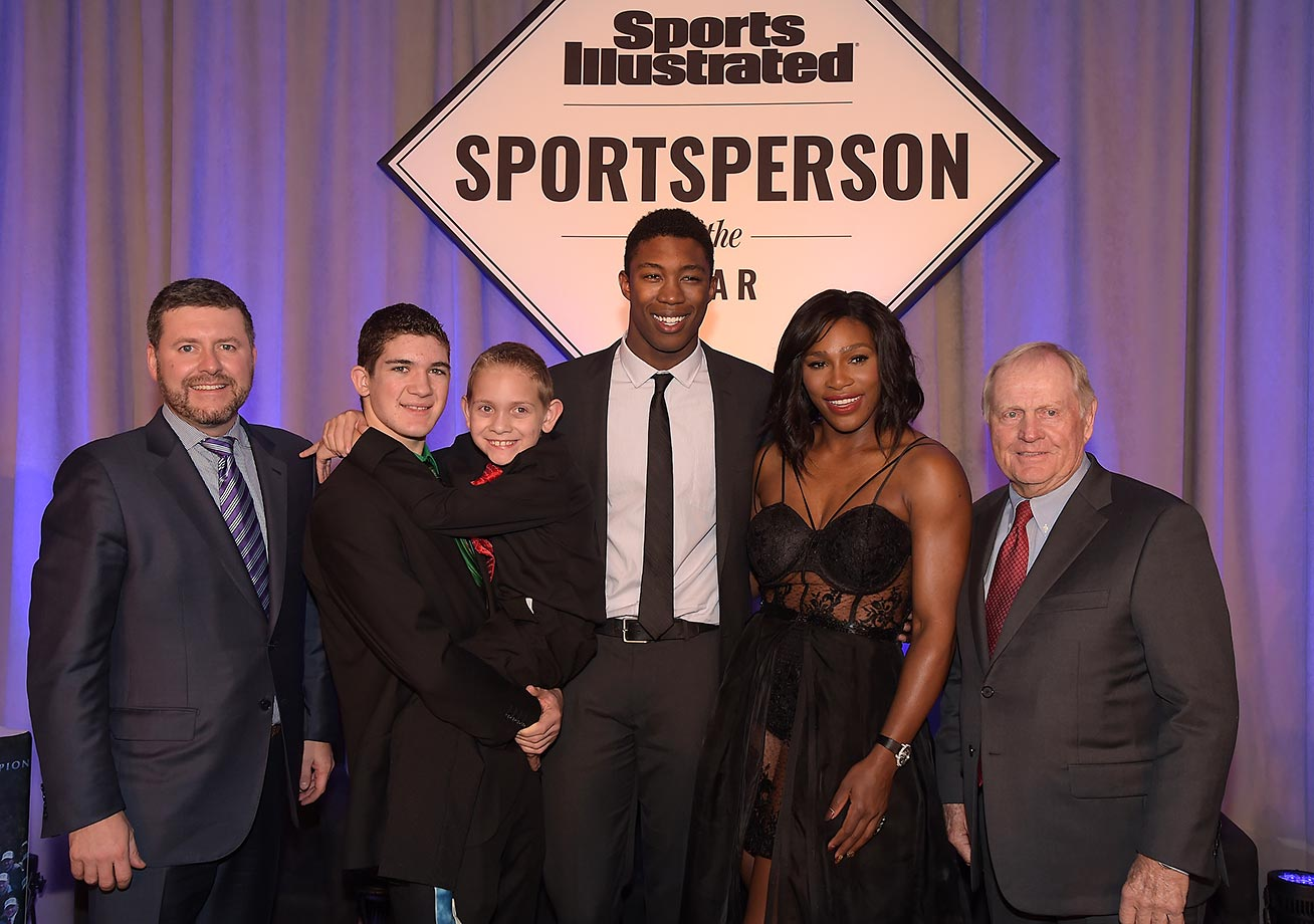Publisher of Sports Illustrated Brendan Ripp, SI High School Athlete of the Year Hunter Gandee, with brother Braden Gandee, SI Kids 2015 SportsKid of the Year Reece Whitley, SI 2015 Sportsperson of the Year Serena Williams and SI Muhammad Ali Legacy Award Recipient Jack Nicklaus.