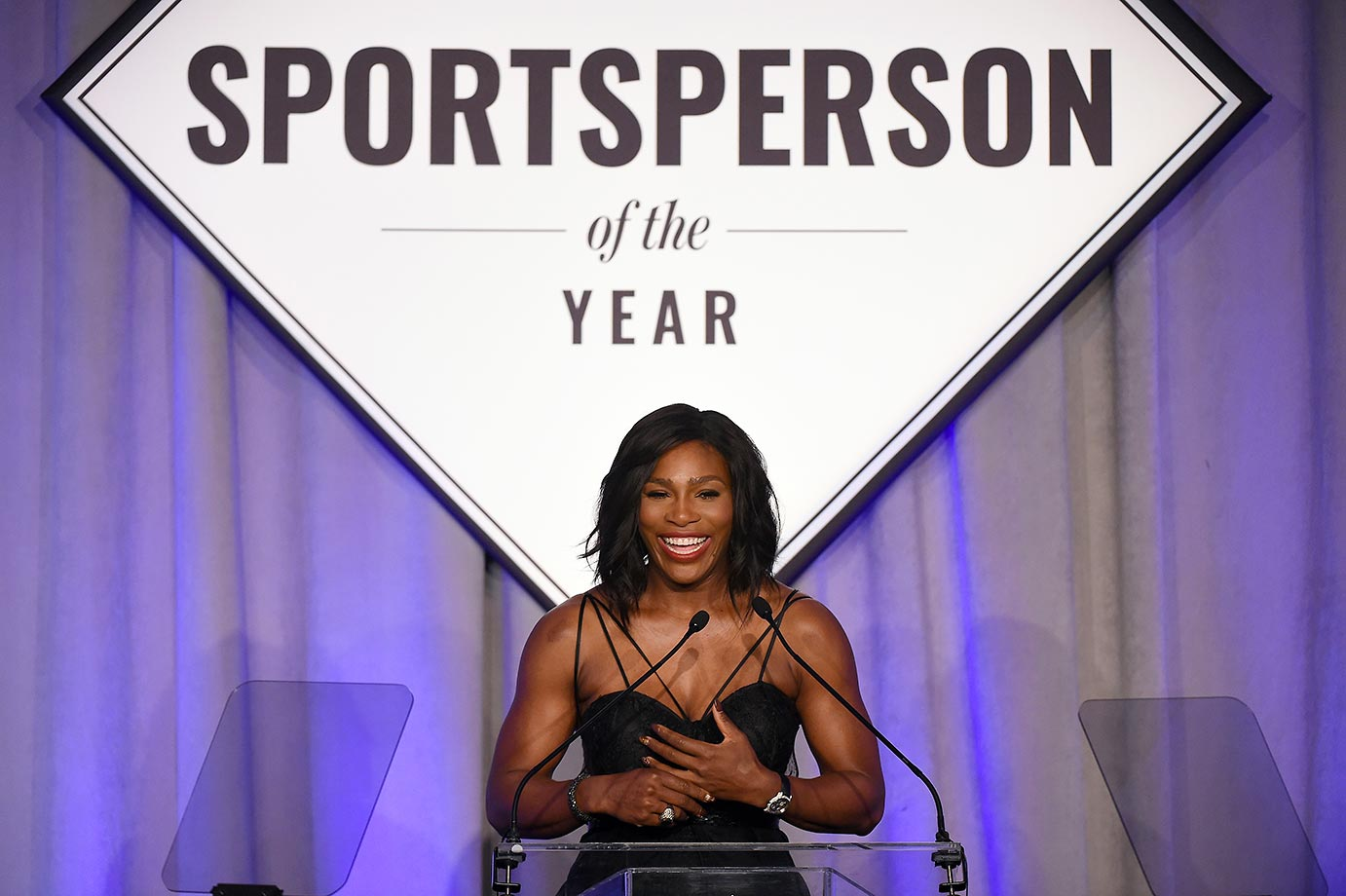 Serena Williams accepting the 2015 Sports Illustrated Sportsperson of the Year award.