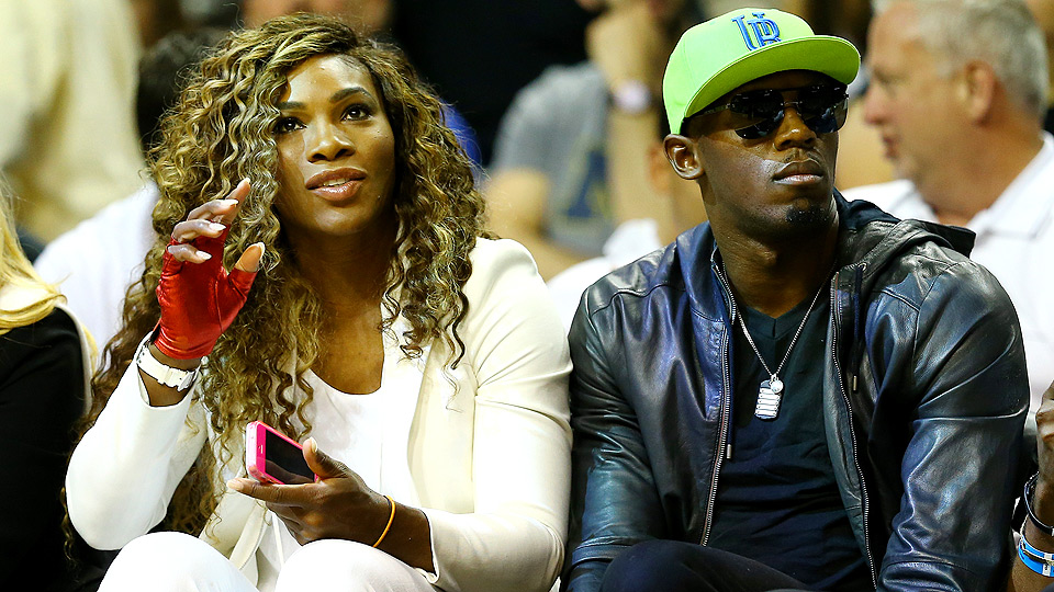 Serena Williams and Usain Bolt got a front-row view of the Spurs victory against the Heat in Game 4.