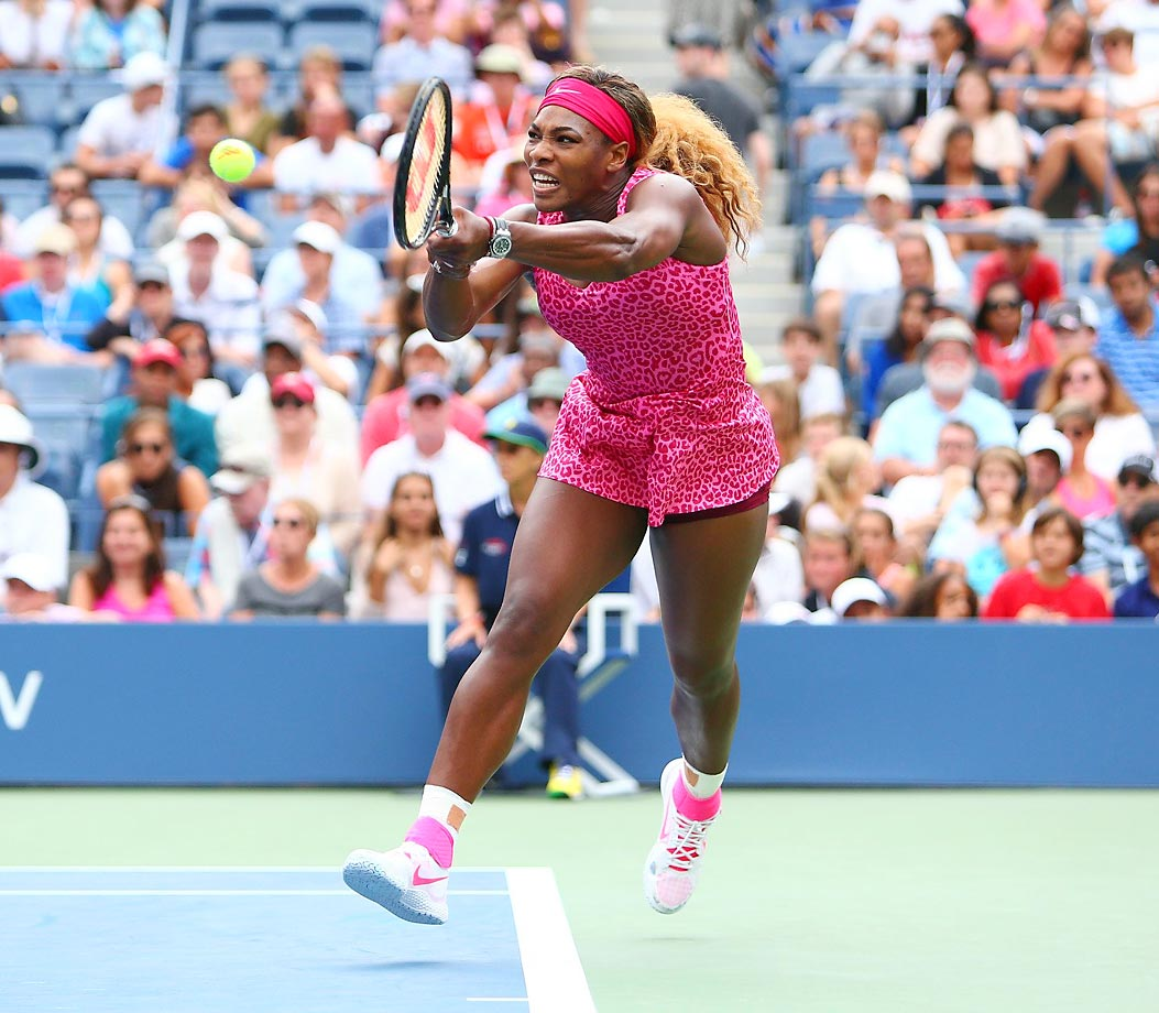 Serena Williams is charging ahead at the U.S. Open, shown here defeating Varvara Lepchenko 6-3, 6-3 on Aug. 30.
