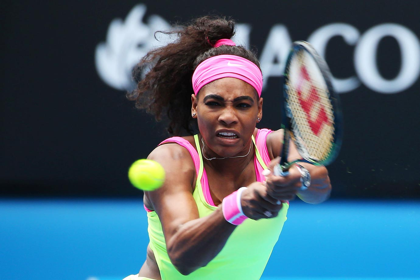 Serena Williams plays a backhand in her semifinal victory over Madison Keys in the Australian Open.