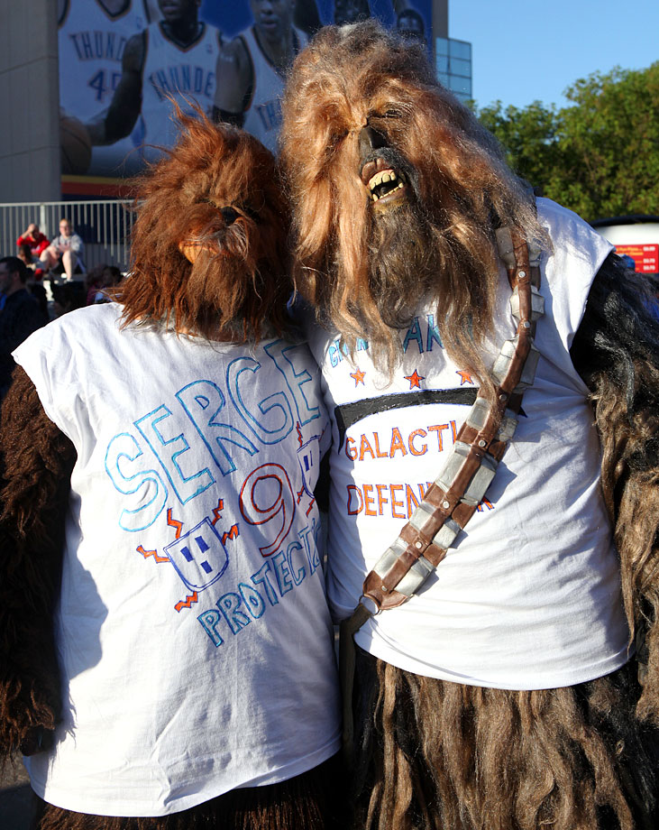 Fans of Oklahoma City Thunder forward Serge Ibaka dress as Wookies for Game 2 of the second round of the NBA playoffs between the Thunder and the Memphis Grizzlies on May 3, 2011 at Oklahoma City Arena.