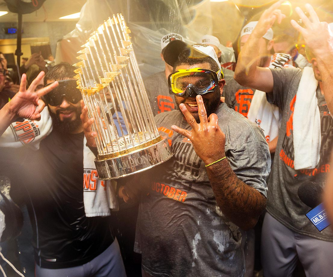 Pablo Sandoval celebrates the Giants' third World Series title in five years.
