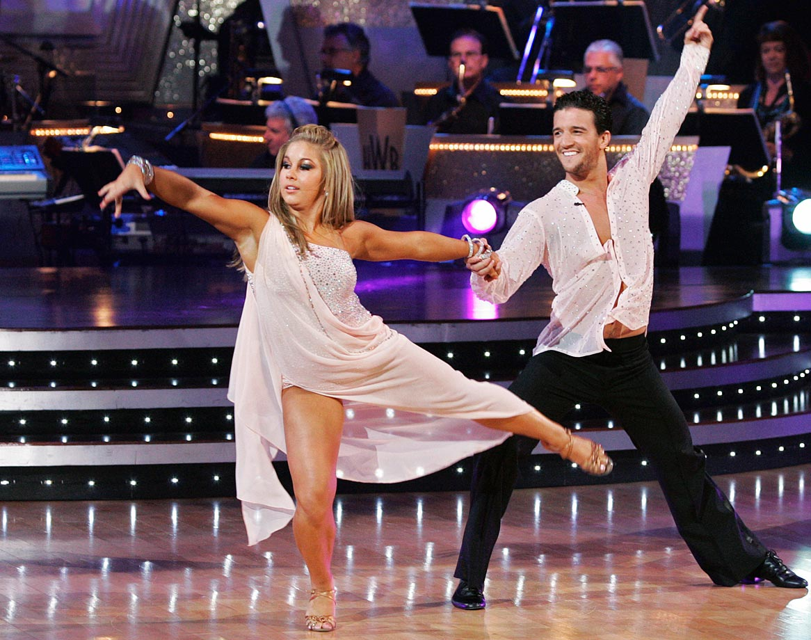 Olympic champion gymnast Shawn Johnson won with dancing partner Mark Ballas (pictured) in Season 8 and finished in 2nd place with partner Derek Hough in Season 15's Dancing with the Stars: All-Stars.