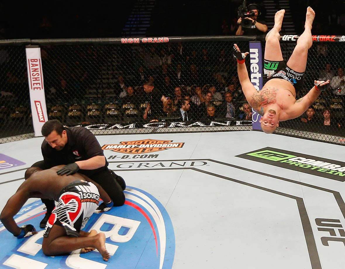 Shawn Jordan celebrates his knockout win over Jared Cannonier in their heavyweight bout during UFC 182.